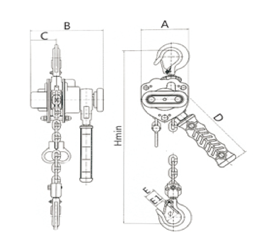 TOYO-V3-type-lever-block-drawing